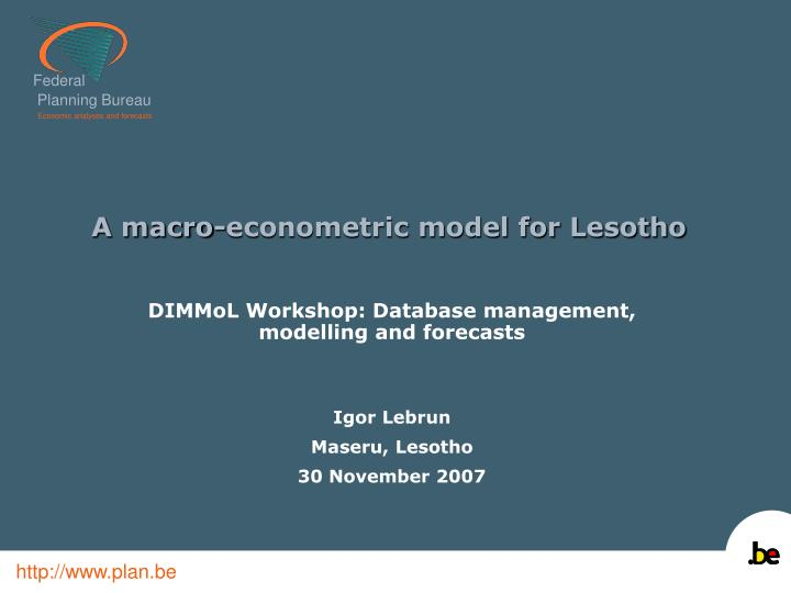 A macro econometric model for lesotho