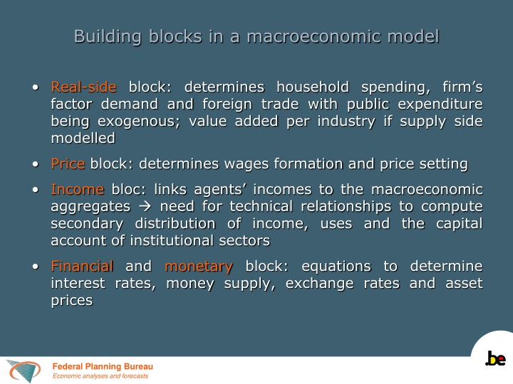 Building blocks in a macroeconomic model