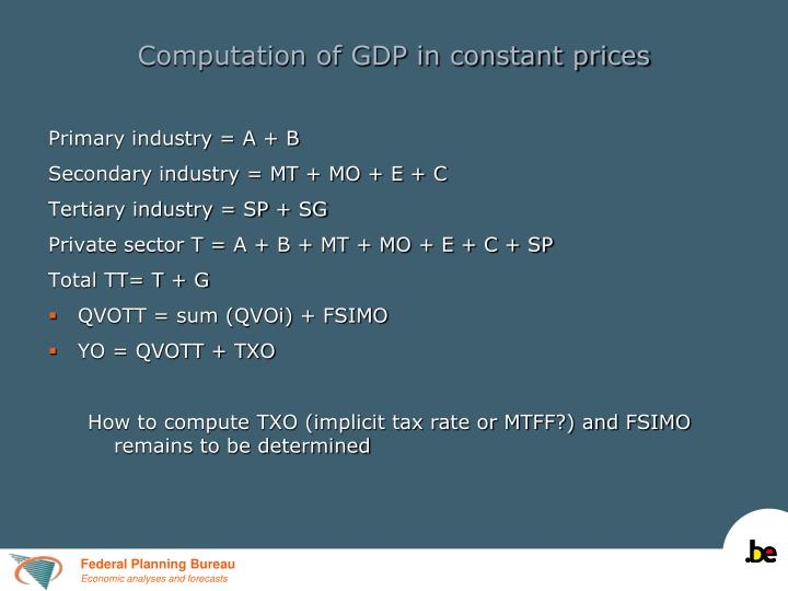 Computation of GDP in constant prices