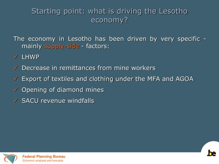 Starting point: what is driving the Lesotho economy?