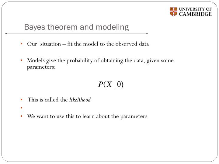 Bayes theorem and modeling