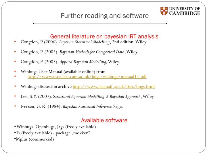 Further reading and software