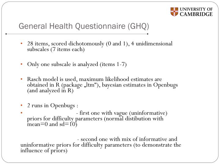 General Health Questionnaire (GHQ)
