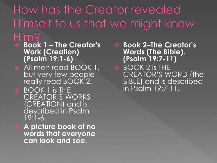 How has the Creator revealed Himself to us that we might know Him?