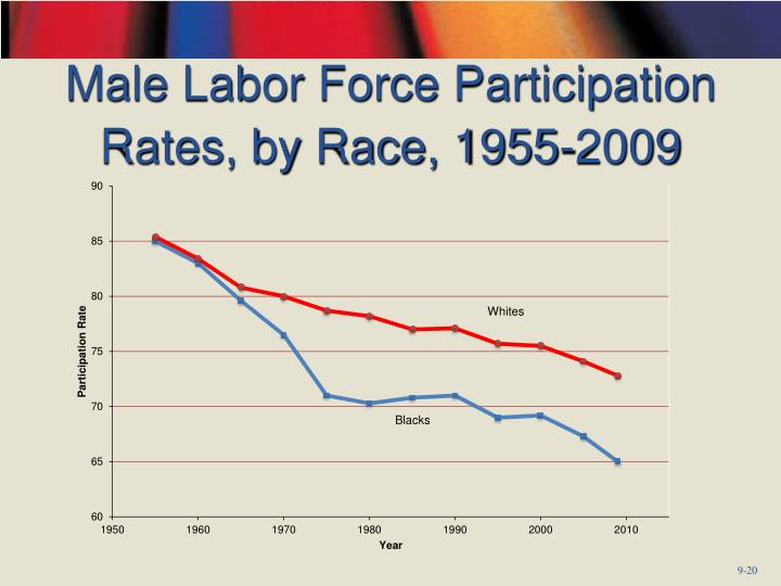 Male Labor Force Participation Rates, by Race, 1955-2009