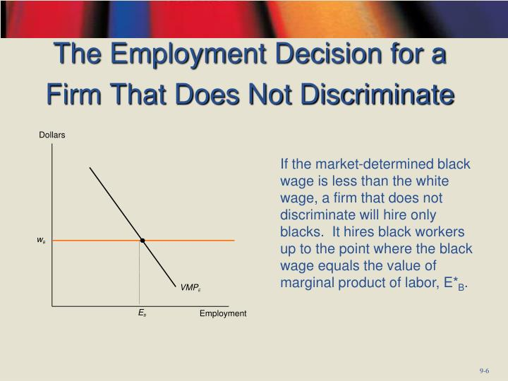The Employment Decision for a Firm That Does Not Discriminate