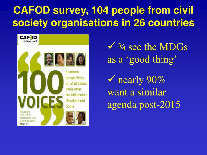 CAFOD survey, 104 people