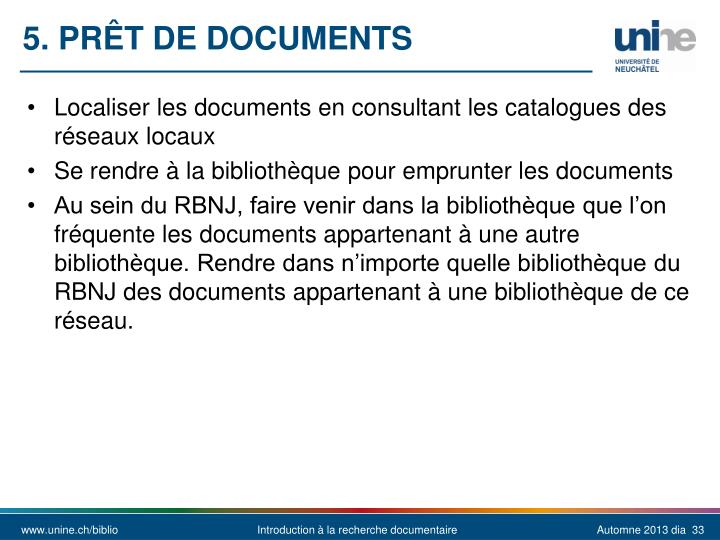 5. Prêt de documents