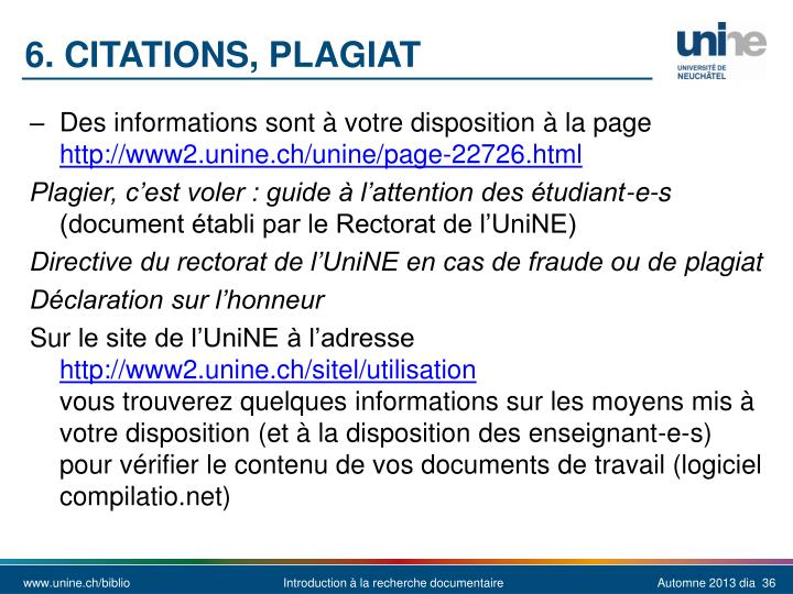 6. CITATIONS, Plagiat