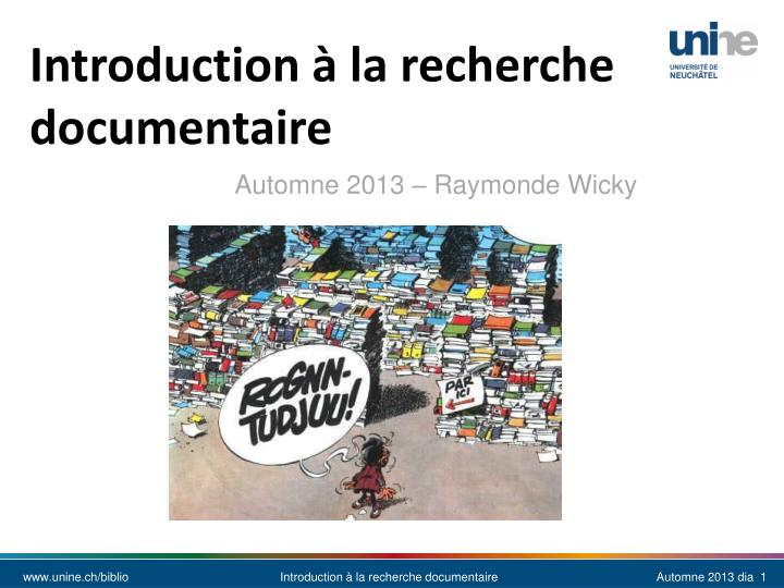 Introduction la recherche documentaire