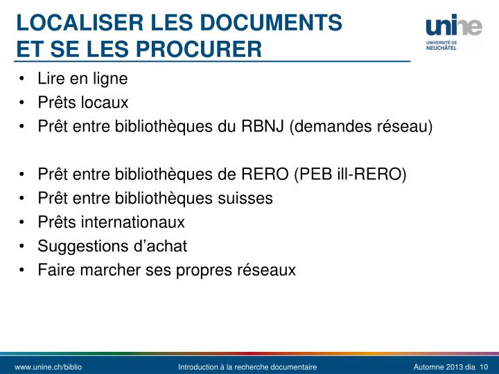Localiser les documents