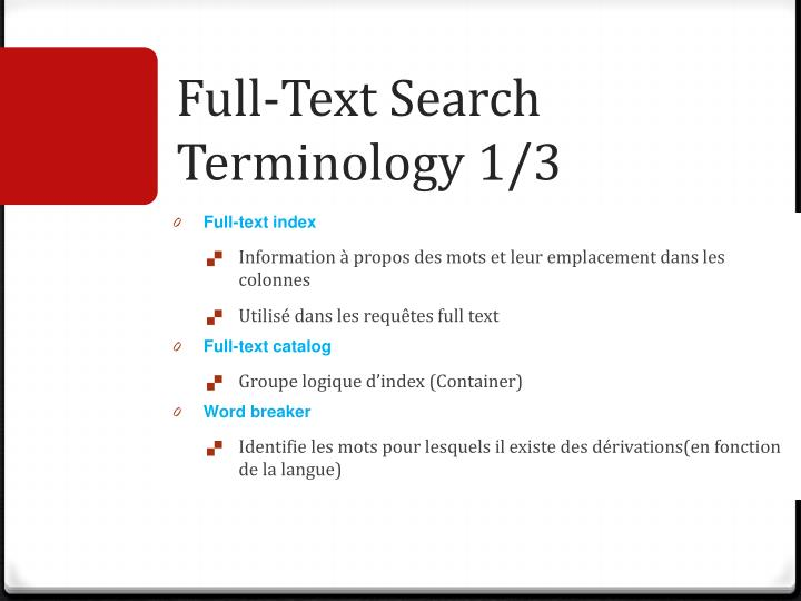 Full-Text Search Terminology 1/3