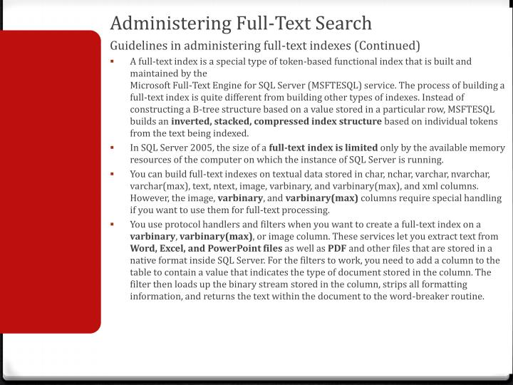 Administering Full-Text Search