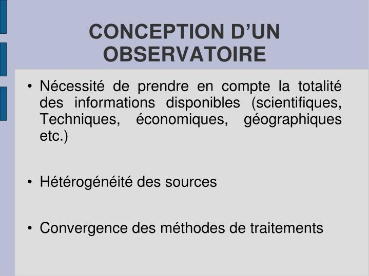 CONCEPTION D'UN OBSERVATOIRE