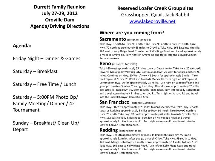 Durrett family reunion july 27 29 2012 oroville dam agenda driving directions