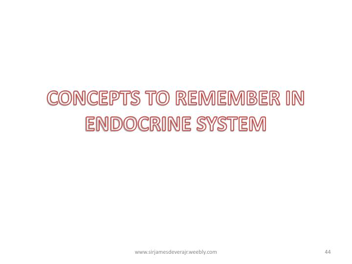 CONCEPTS TO REMEMBER IN ENDOCRINE SYSTEM