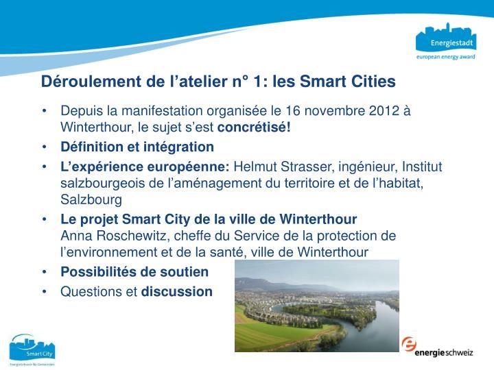 Déroulement de l'atelier n° 1: les Smart Cities