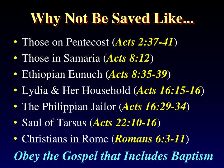 Why Not Be Saved Like...