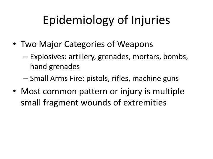 Epidemiology of Injuries