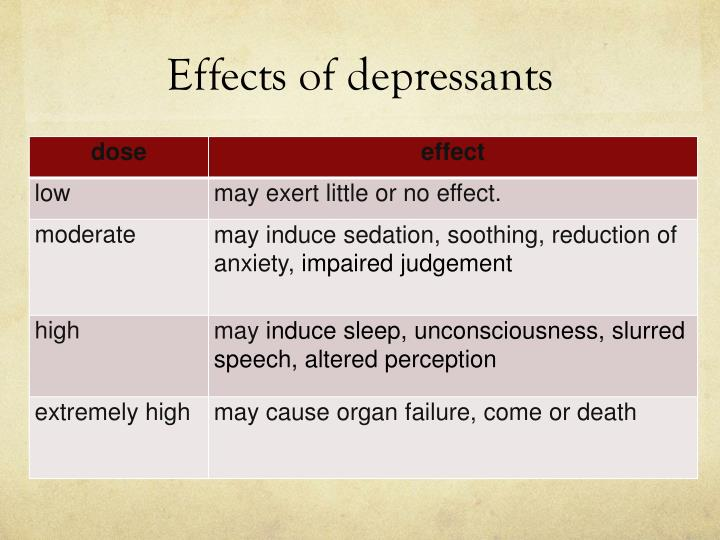 Effects of depressants