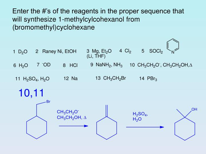 Enter the #'s of the reagents in the proper sequence that will synthesize 1-methylcylcohexanol from (