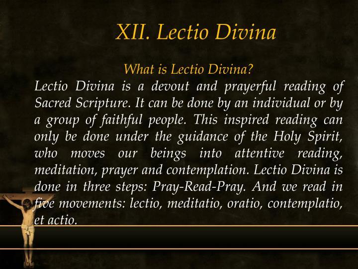 XII. Lectio Divina
