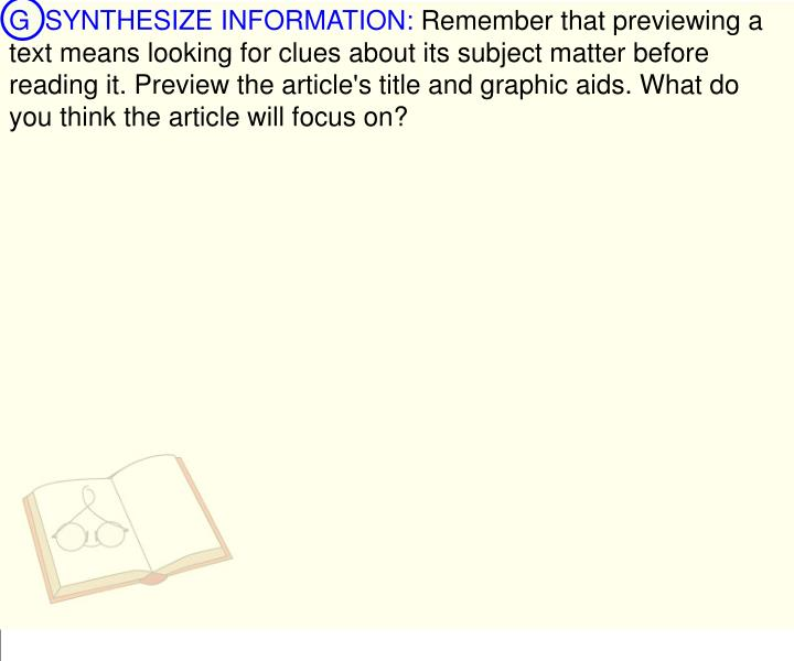 G  SYNTHESIZE INFORMATION: