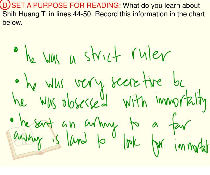 D  SET A PURPOSE FOR READING: