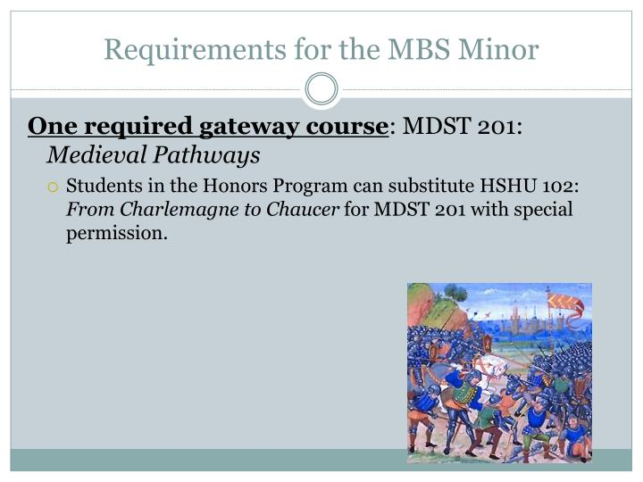 Requirements for the MBS Minor