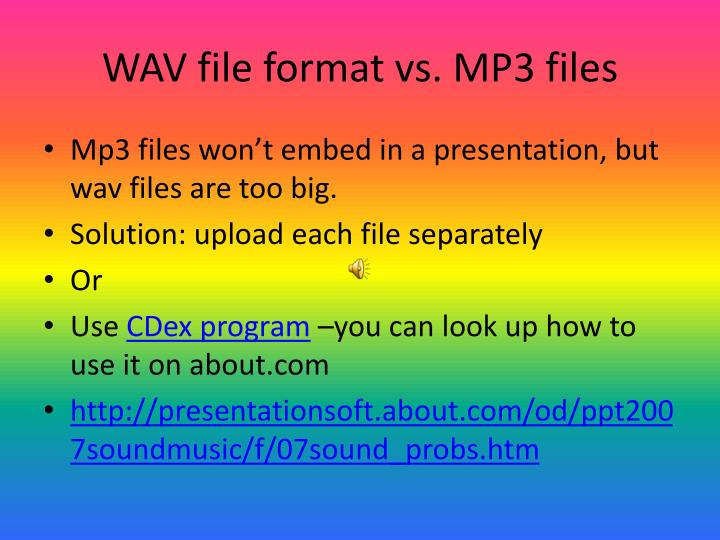 WAV file format vs. MP3 files