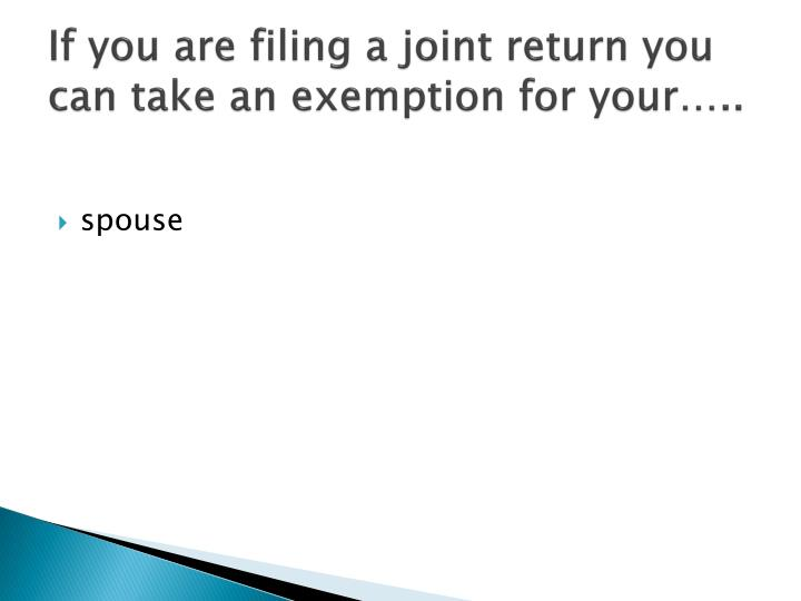 If you are filing a joint return you can take an exemption for your…..