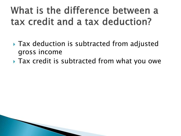 What is the difference between a tax credit and a tax deduction?