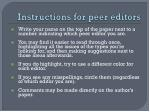 instructions for peer editors