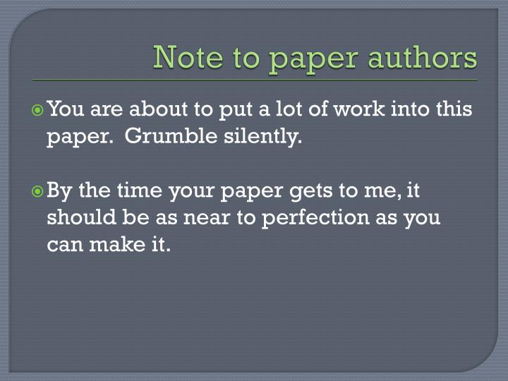 Note to paper authors
