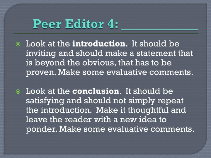 Peer Editor 4: ____________