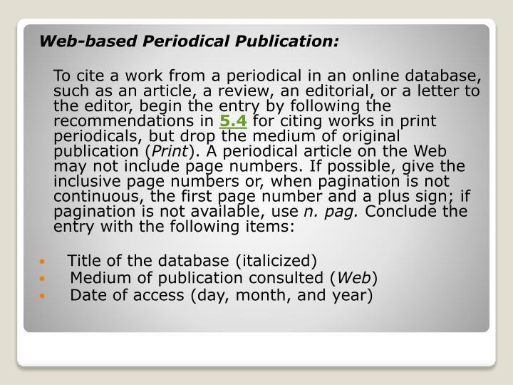 Web-based Periodical Publication: