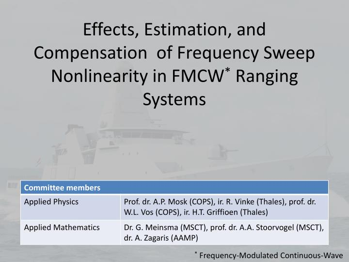 Effects estimation and compensation of frequency sweep nonlinearity in fmcw ranging systems