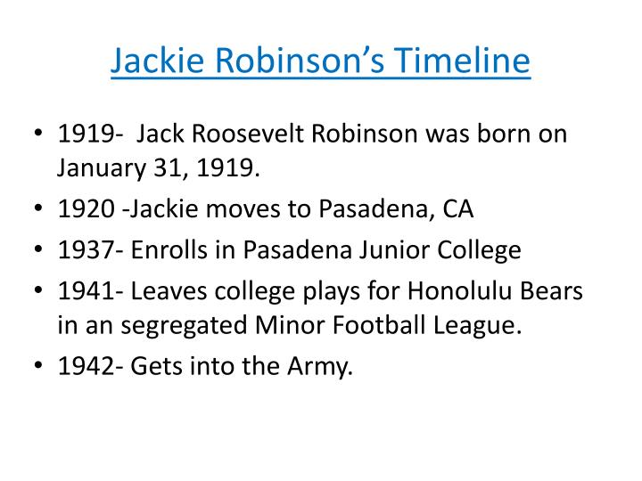 an introduction to the life of jack roosevelt robinson Jackie robinson broke the color barrier when he became the first black athlete to play major league baseball in the 20th century  early life and education jack roosevelt robinson was born on.