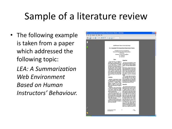 Sample of a literature review