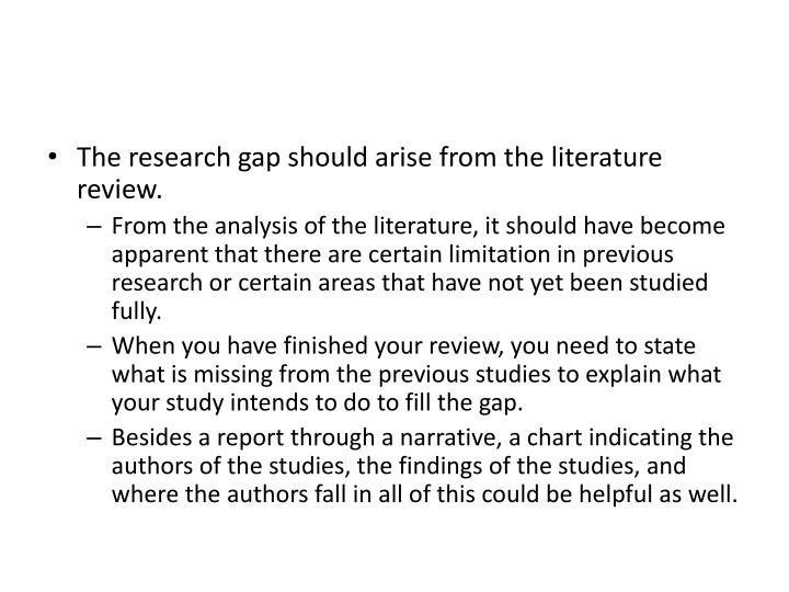The research gap should arise from the literature review.