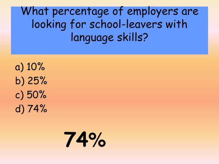 What percentage of employers are looking for school-leavers with language skills?