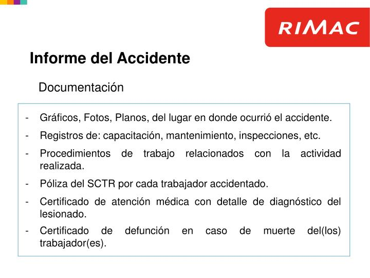 Informe del Accidente