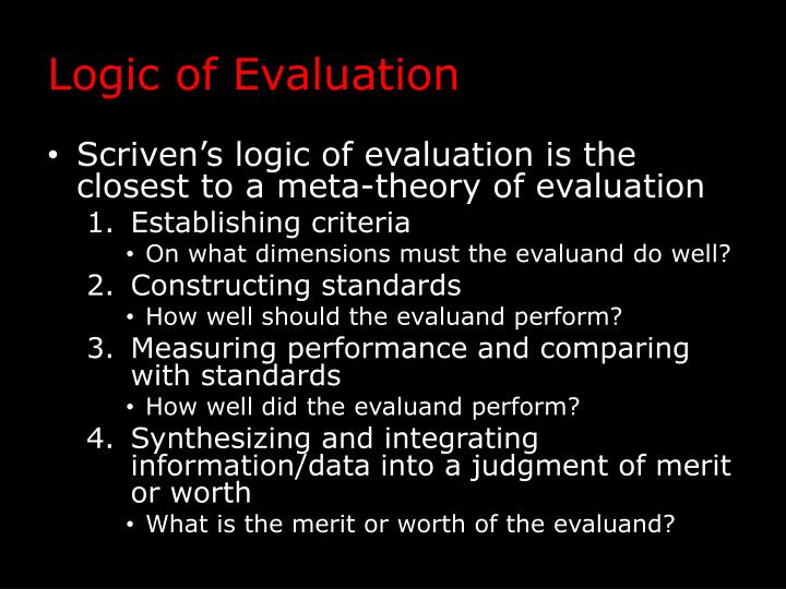 Logic of Evaluation
