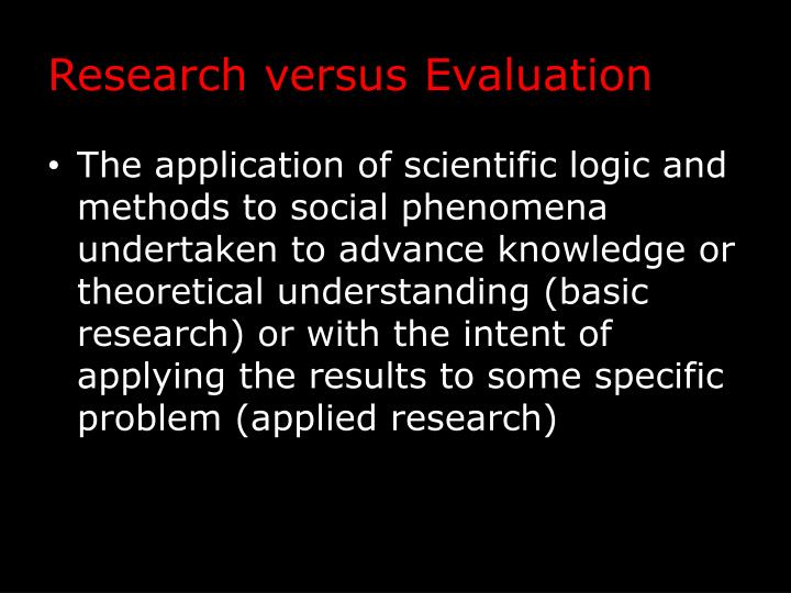 Research versus Evaluation