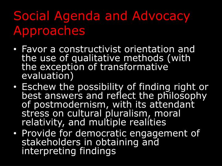 Social Agenda and Advocacy Approaches