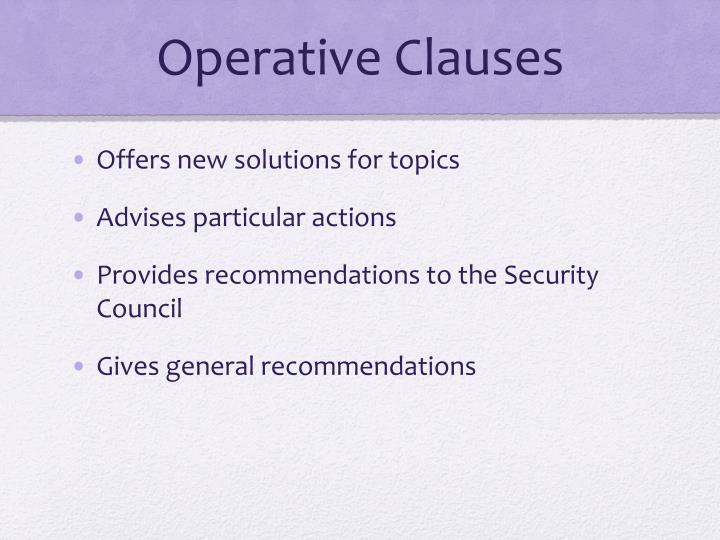 Operative Clauses