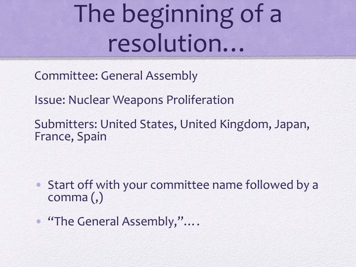 The beginning of a resolution…