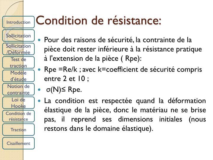 Condition de résistance: