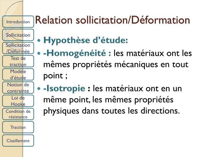 Relation sollicitation/Déformation