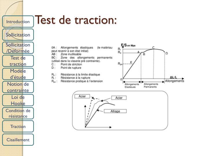 Test de traction: